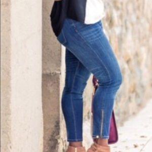 WHBM skinny jeans ankle zip 10R